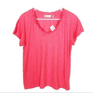NWT Neiman Marcus Ruffle V-Neck Coral Top M